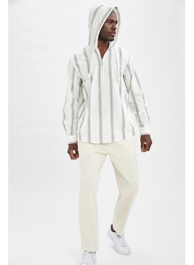 DeFacto Regular Fit Çizgili Kapüşonlu Uzun Kollu Gömlek Bej
